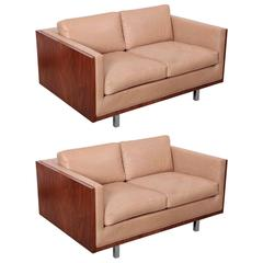 Pair of New Upholstered Milo Baughman Style Walnut Sofas