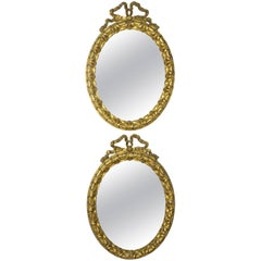 Antique 19th Century Italian Giltwood Vanity Mirrors, Set of Two