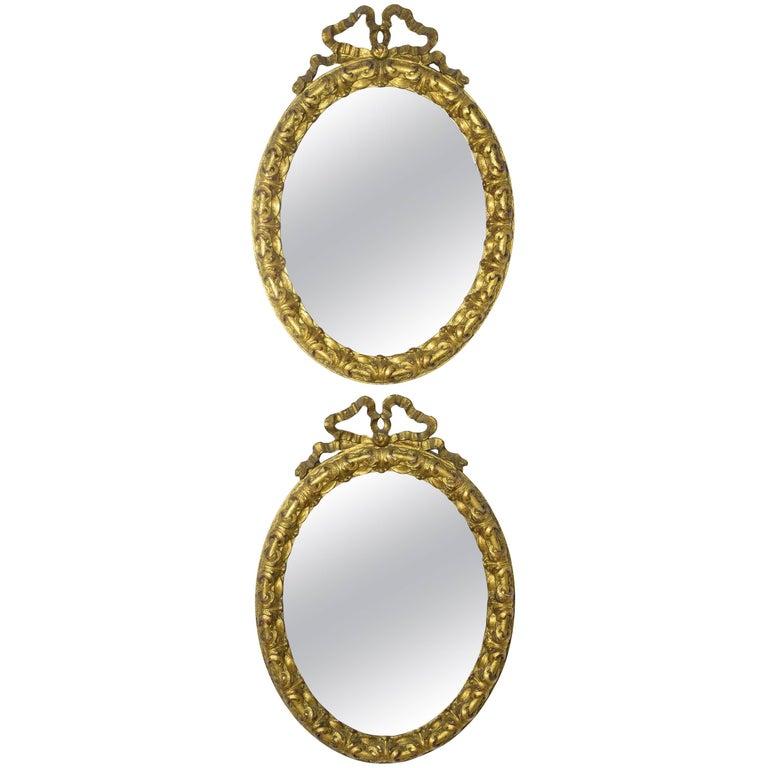19th Century Italian Giltwood Vanity Mirrors, Set of Two