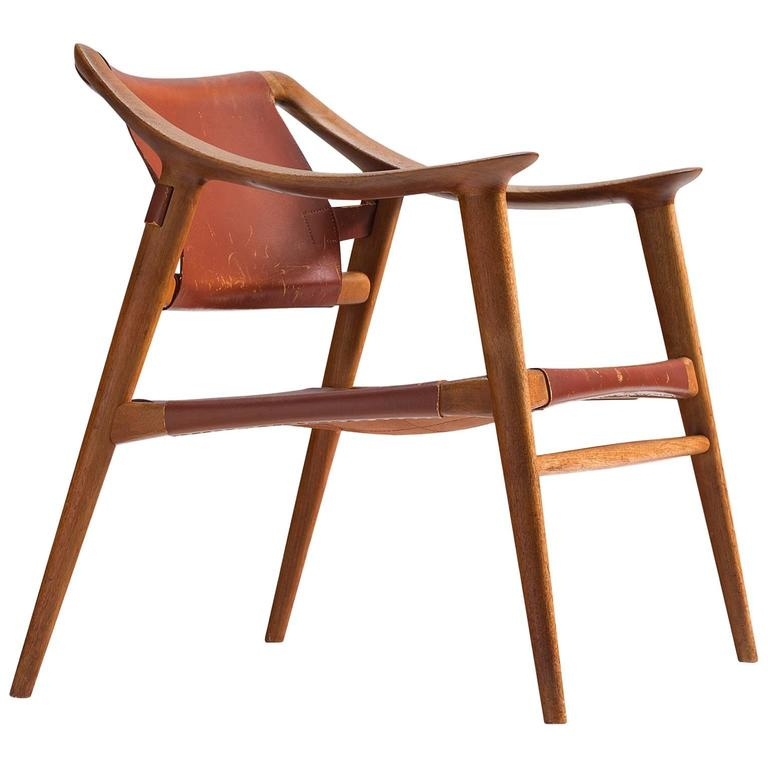 Rastad & Relling 'Bambi' Armchair in Teak and Cognac Leather For Sale