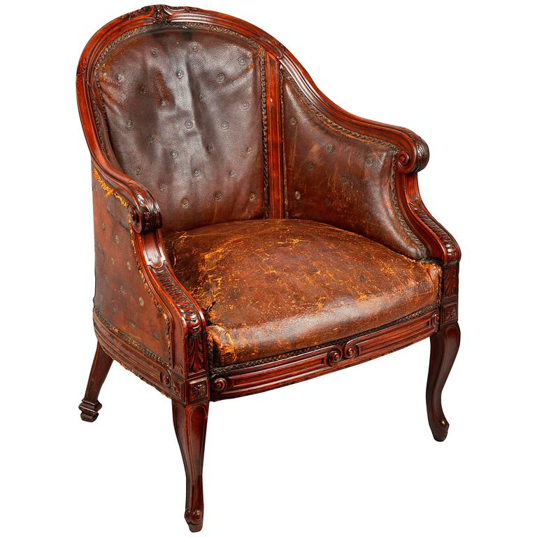 Early 19th Century French Leather Library Bergere Armchair