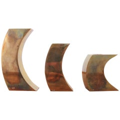 Signed Suite of Three Solid Patinated Bronze Candle Holders, France, 1970s