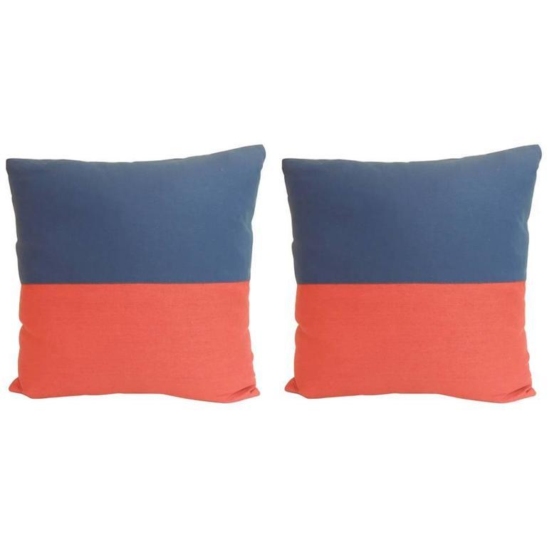 Pair of Antique Textiles Galleries Nautical Collection Echo Decorative Pillows