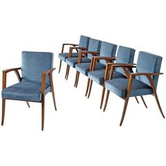Set of Six Italian Dining Chairs in Blue Velvet and Rosewood