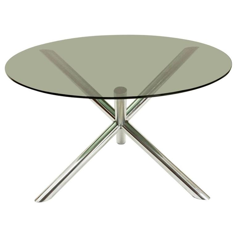 Dining Table With Chromed Metal Base From Roche Bobois