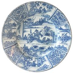 Large Delftware Charger, Probably Frankfurt Delftware