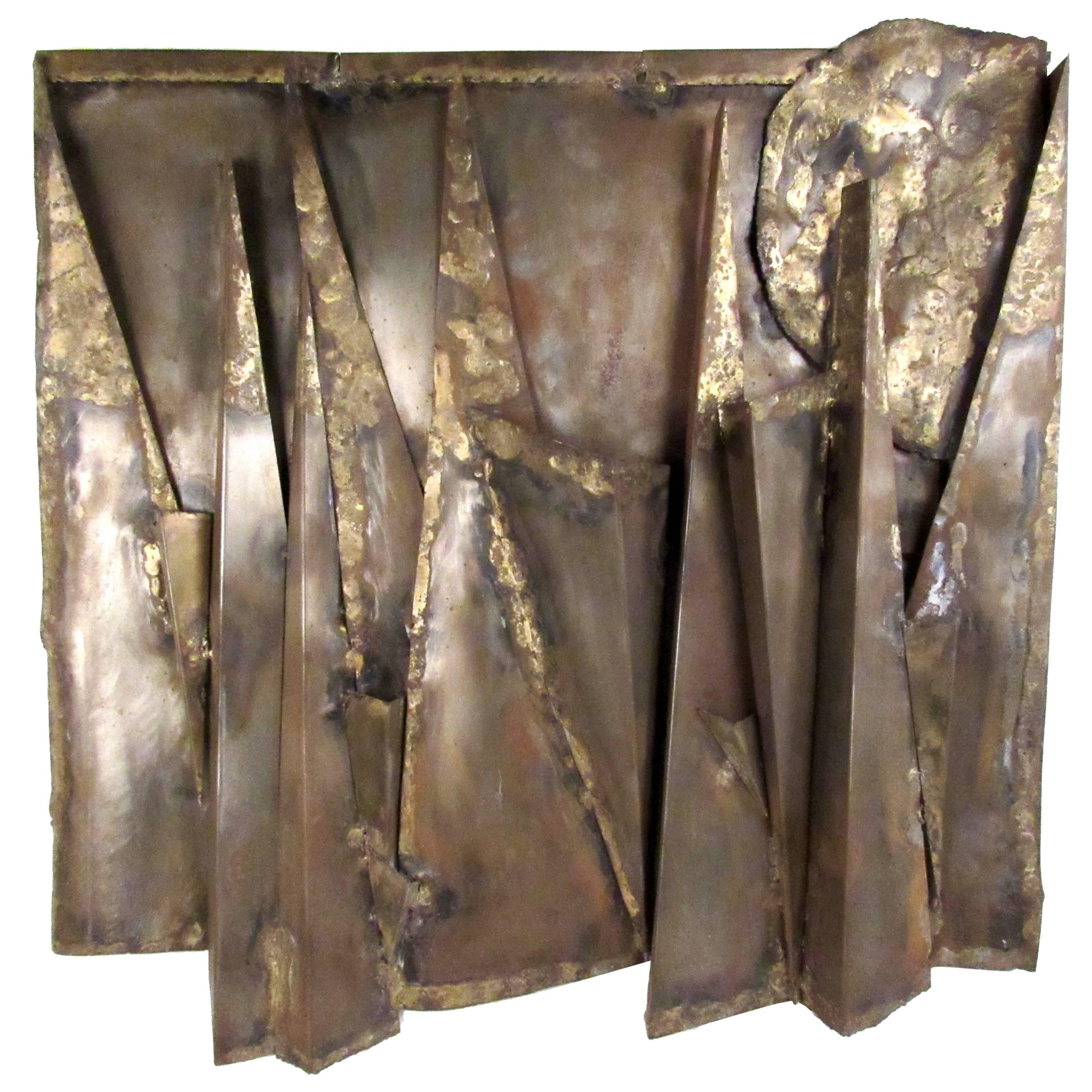 Brutalist Modern Hammered Metal Wall Hanging in the Style of Paul Evans