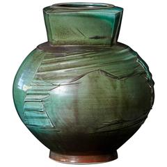 Chris Staley, Large Jar with Textured Surface in Mottled Green, Signed