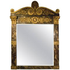 Mid-19th Century Italian Empire Faux Marble and Gilt Overmantle Mirror