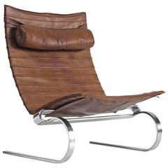 Poul Kjærholm PK20 Lounge Chair in Patinated Brown Leather