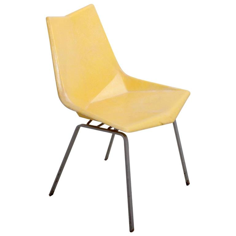 Paul McCobb Yellow Origami Side Chair On Rare Solid Base USA 1950s For  Sale Yellow Side Chair E80