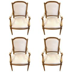 Four Maison Jansen Louis XVI Cream Leather Upholstered Parcel-Gilt Armchairs