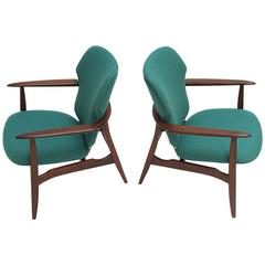 Pair of Danish Organic Teak & De Ploeg Wool by Aksel Bender Madsen for Bovenkamp