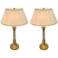 Pair of Ormolu-Mounted Baccarat Candlestick Lamps with Custom Shades