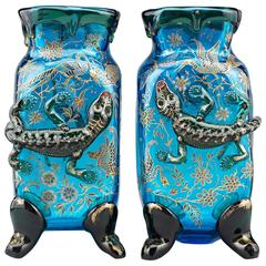 Salamander Art Glass Vases by Auguste Jean