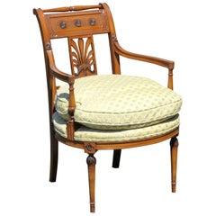 Directoire Style Carved Walnut Armchair Chair