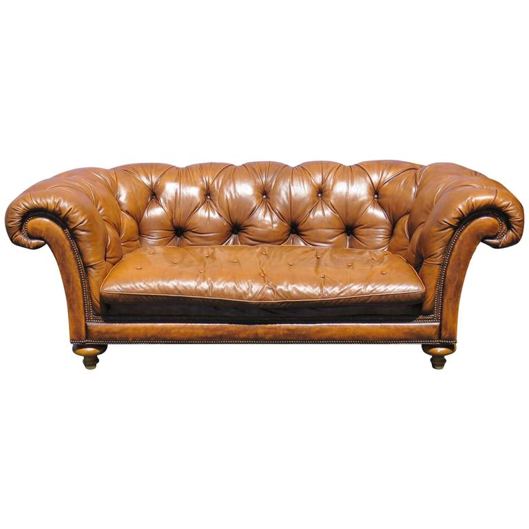 Baker Leather Tufted Sofa For Sale