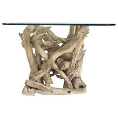 midcentury driftwood end table