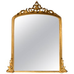 Overmantle Mirror, Mid-19th Century, English Carved Giltwood