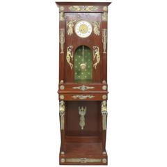 French Empire Style Figural Bronze Mounted Grandfather's Clock