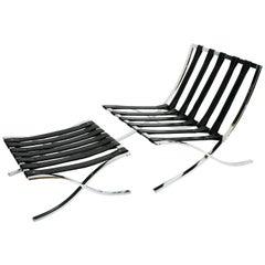 Italian Barcelona Style Chair and Ottoman Frames