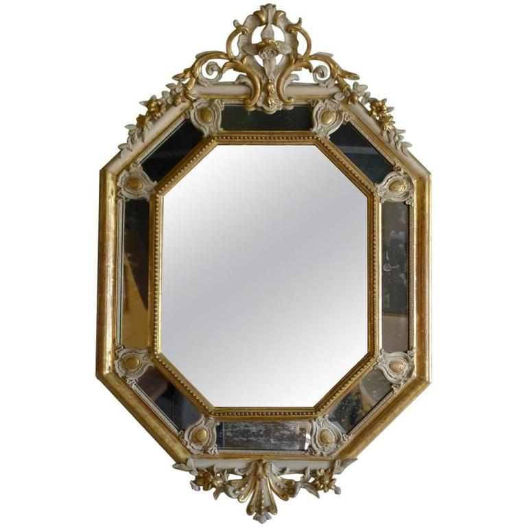 19th century gold gilded octangular baroque mirror at 1stdibs for Gilded baroque mirror