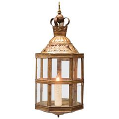 Mid-19th Century Netherlands Dutch Colonial Brass and Glass Lantern