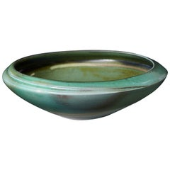 Chris Staley, Large Bowl with Irregular Shape and Partly Green Crackled Glaze