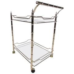 Hollywood Regency Style Two-Tier Bar Cart