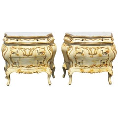 Pair of French Style Paint Decorated Marble-Top Bombe Commode