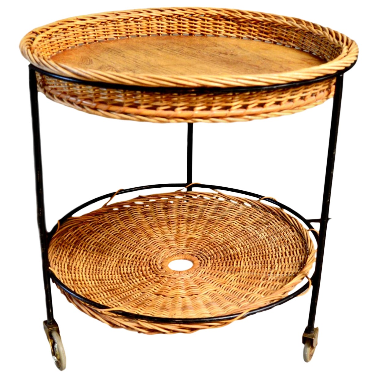 French Wicker Bar Cart