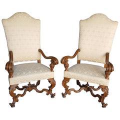 Pair of 19th Century Italian Baroque Style Walnut Armchairs