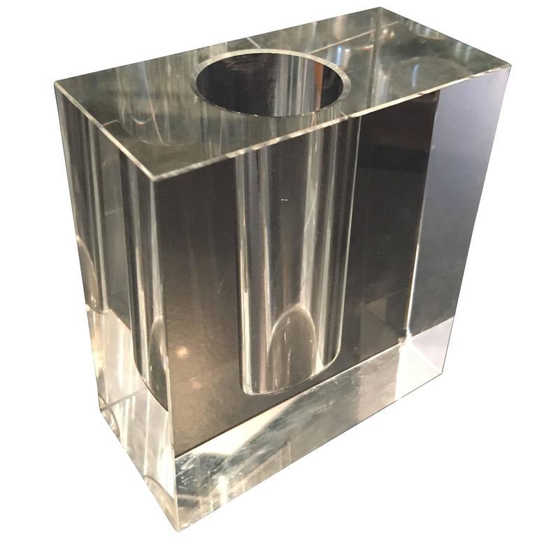 Glass Block Vase At 1stdibs