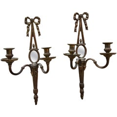 Pair of Small Double Arm Wall Sconce, English, circa 1900