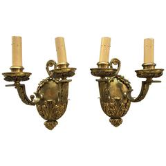 Pair of English Ornate Double Arm Brass Sconces