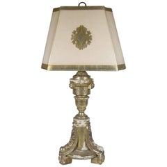 Antique Silver Gilt Wood Tripod Lamp