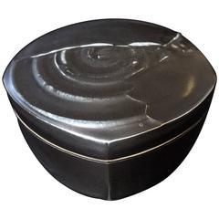 Chris Staley Square Black Lidded Jar, Signed