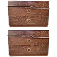 Pair of James Mont Cerused Oak Chest of Drawers, 1940s