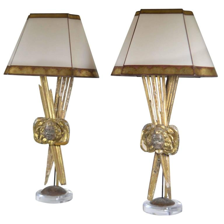 Pair of Italian 18th Century Giltwood Lamps For Sale
