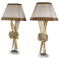 Pair of Italian 18th Century Giltwood Lamps
