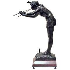 Michel-Léonard Béguine, Snake Charmer, Art Nouveau Bronze Sculpture, ca. 1900