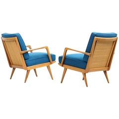 Pair of Beautiful Beechwood and Cane Lounge Easy Chairs, Mid-Century Modern