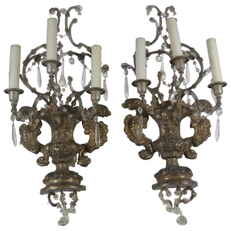 French, Pair of Antique Reposse Three-Arm Wall Sconces
