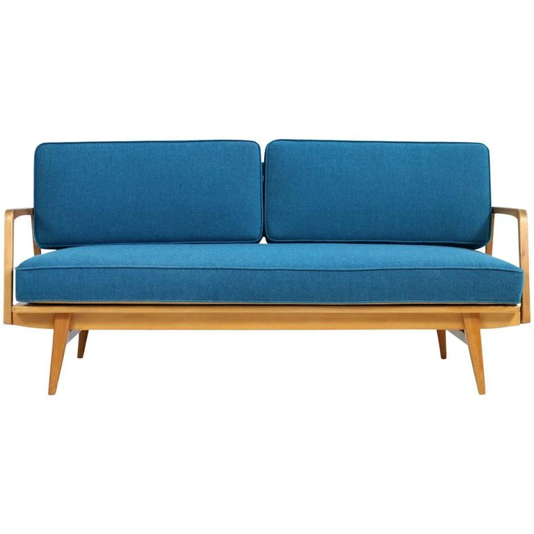 Rare & Beautiful 1950s Beech Wood Extendable Daybed Sofa, Mid-Century Modern