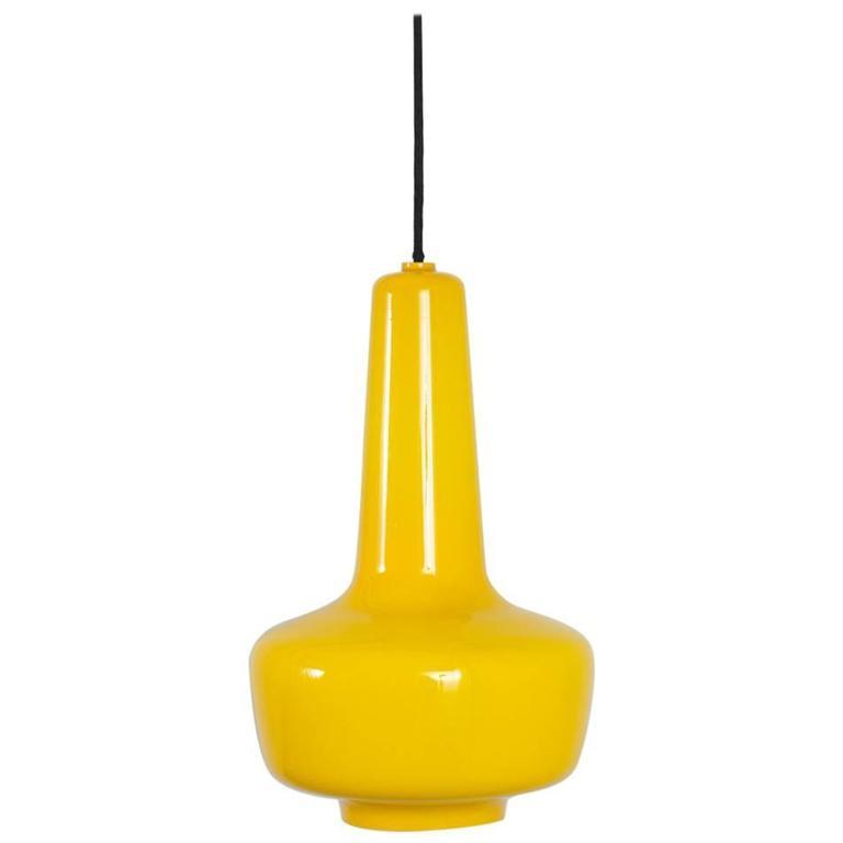 Jacob E. Bang Yellow 'Kreta' Pendant Lamp, Denmark, 1960s 1