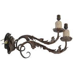 Italian, Pair of 18th Century Wrought Iron Wall Sconces