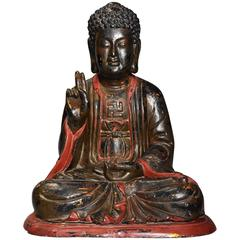 Vietnamese Wooden and Polychrome Painted Buddha with Traces of Original Gilding