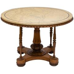 Fine English William IV Carved Birdseye Maple and Rosewood Centre Table