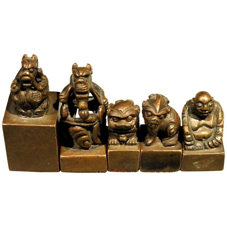 Group of Five Miniature Chinese Bronze Seals / Chops, Late Qing Period