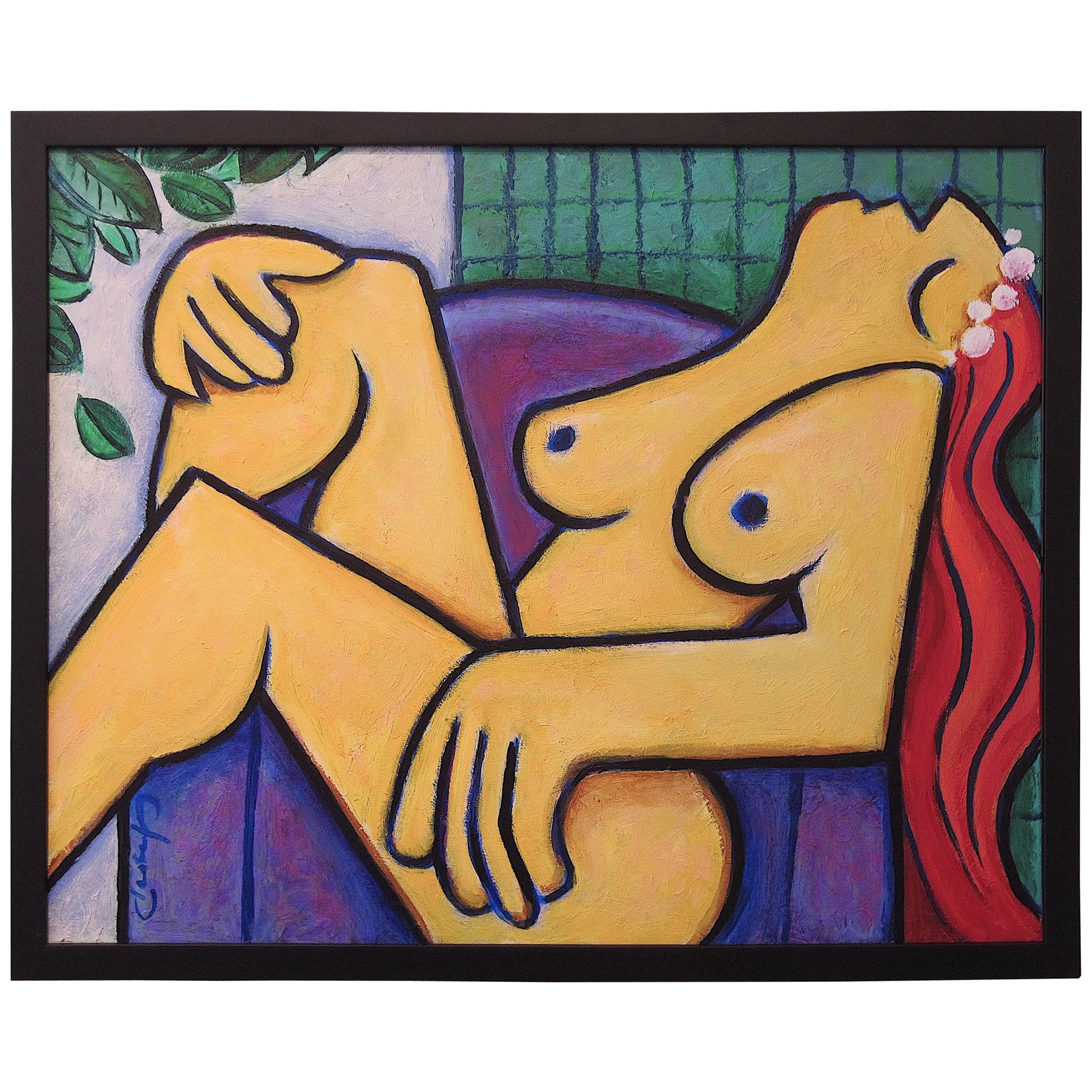 """""""Yellow Nude"""" Painting by Benjamin Casiano, 2015"""